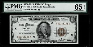 1929 $100 Dollars Chicago Uncirculated PMG 65