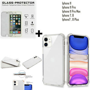 Thick Clear Transparent TPU Case For iPhone 11, Pro, Max + Glass Protector