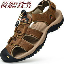 Men's Closed Toe Water Shoes Beach Leather Sandals Outdoor Summer Hiking Casual