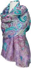 Schal, 95% Wolle wool 5% Seide silk Türkis bedruckt scarf  Turquoise écharpe