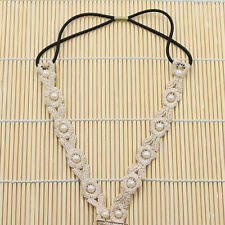 Openwork Embroidery Lady Lace Pearl Chain Hair Band Headband Fascinator Jewelry