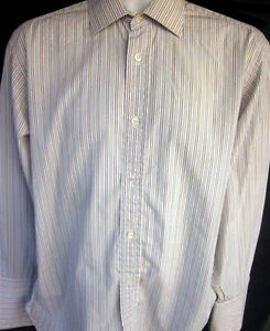 Faconnable Mens Button Front Long Sleeve Stripe Shirt 16 R