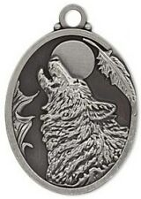 """Focal, """"pewter"""" 40x32mm oval with howling wolf pendant 1Per"""