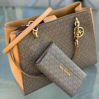 Michael Kors Brown MK Signature Large Sofia Chain  Shoulder Bag  Tote and Wallet