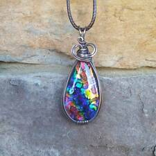 Dichroic Glass Wire Wrap Wrapped Oxidized Copper Pendant Handmade USA Rainbow