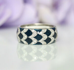 Hidalgo Copy 18K White Gold Natural Diamonds Blue Enamel Band Ring Size 5.75