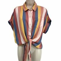 Beach Lunch Lounge Womens Blouse Top L Yellow Blue Awning Stripe Tie Button Up