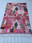 Pink Moroccan Rug VINTAGE Boujaad wool handwoven 8½' x 5'