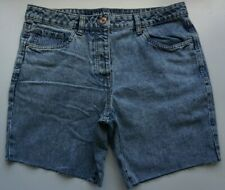 Women`s Branded High Waist Cut Off Denim Shorts Stonewashed Blue