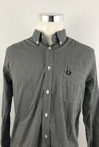 Fred Perry Mens Long Sleeve Gingham Check Button Button Down Shirt Sz Large L
