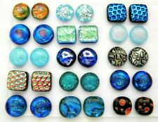 Lot 30 pcs round square handmade DICHROIC earrings FUSED GLASS (N8) CABOCHONS
