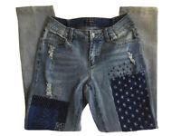 Juliette Jeans Patches Crosses Design Distressed Medium Wash Mid Rise Blue Sz 4