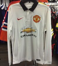Manchester United Soccer White Home Jersey Long Sleeves Premier League Small