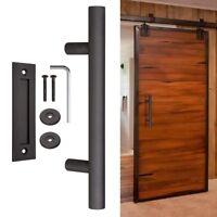 "12"" Sliding Barn Door Pull Flush Handle Gate Hardware Set Cast Iron Matte Coffee"