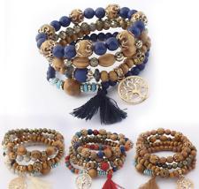 Women Girls Multilayer Bracelet Set Bead Tassel Bangle Tree of Life Jewellery