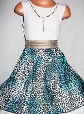 GIRLS WHITE LACE BLUE ANIMAL TYE DYE PRINT CHIFFON CONTRAST PARTY DRESS age 5-6