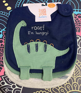 New Just One You by Carter's 3 Pack Bibs Boys Dinosaurs construction trucks grey