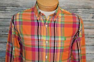 RALPH LAUREN CUSTOM FIT Small Men's L/S Button Down Shirt Orange Multi Plaid
