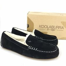 Koolaburra by UGG Black Size 5 Lezly Suede Slip On Faux Fur Slippers