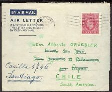 GB UK TO CHILE STATIONERY AIR LETTER AEROGRAMME 1947 READDRESSED GODALMING