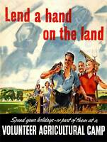 Lend a hand Wall art vintage WW2 public information Poster Reproduction.