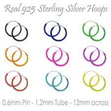 Sterling Silver Colour Sleepers Hoop Earrings UK Lady Girl Boy Kid 1mmx12mm