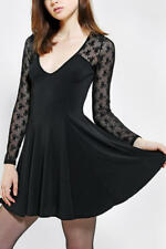 Kimchi Blue Long Sleeve Lace Mesh Flare Skater dress Black XS Urban Outfitters