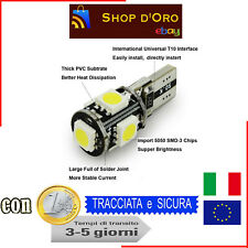10 LAMPADINE POSIZIONE CANBUS NO ERRORE 5 LED SMD 5050 T10 W5W LUCE BIANCA 10x