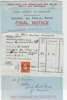 Rural District of Amersham 1939 Final Notice & Stamp Rates Receipt Ref 39043