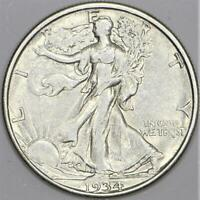 1934-D Walking Liberty Half Dollar; Nice White, Choice AU+