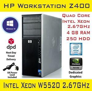 HP Z400 Intel Xeon QUAD Core W3520@2.67GHz 4GB RAM 250GB HD Workstation PC Win10