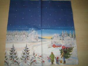 1 Lunch Papier Serviette Napkin (TX840)  Familie mit Tannenbaum zum Haus Schnee