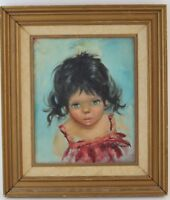 Mystery Artist Signed Mid Century Modern BIG EYED GIRL Child Oil Painting MCM