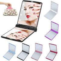 Makeup Cosmetic Folding Pocket Mirror Portable Compact with 8 LED Lights Lamps