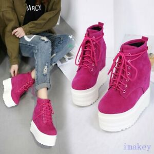 Women High Top Sneakers Lace Up Hiden High Heel Ankle Boots Platform Suede Shoes