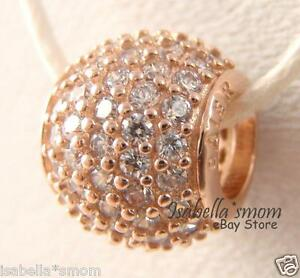 PAVE LIGHTS Authentic PANDORA Rose GOLD Plated CZ STONES Charm/Bead 781051CZ NEW