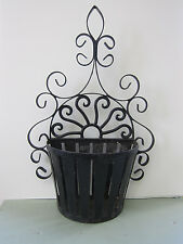 Vintage Ornate Metal Wrought Iron Wall Planter Shabby Cottage Hanging Flower Pot