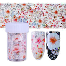 Holographic Starry Nail Foils Holo Nail Art Transfer Stickers Tips Pink Flower