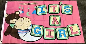 3x5 Its A Girl Flag Newborn Baby Shower Reveal Pregnant Outdoor Banner