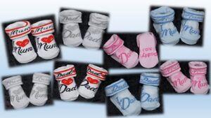 Socken Strümpfe Erstlingssocken I love Mum Dad Mummmys Daddys No. 1- 0-3 Mon.- D