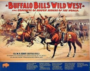 Vintage Wild West Buffalo Bill's Western Cowboy Horses Wall Art Print (16x20)