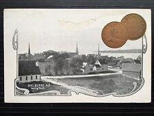 1904 Vintage Patriotic Embossed One Cent Coin Postcard SHELBURNE Nova Scotia