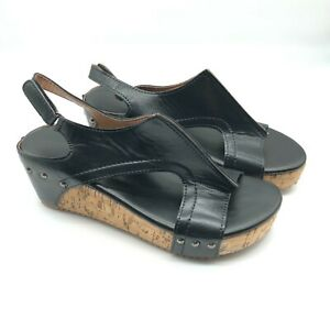 Womens Wedge Sandals Faux Leather Slingback Hook & Loop Black US Size 8