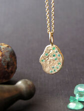 14K yellow gold necklace, pendant set with Green Emerald.Handmade pendant