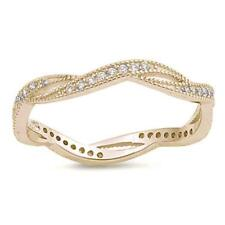 Yellow Gold Plated Micro Pave Cubic Zirconia Infinity Style .925 Sterling Silver