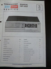 Original Service Manual  ITT Graetz Hifi 9021