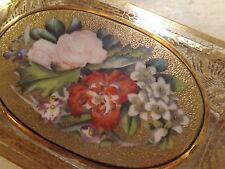 Antica scatola in vetro metà 800 Francese dipinta a mano Luigi Filippo