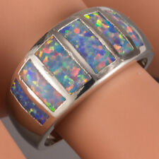 Lavender Purple Fire Opal Silver Jewelry Wide Band Ring US Size 7 8 9 10