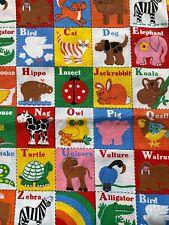 Vintage Novelty Children's Fabric Letters Alphabet Pictures Squares 1970s Kids