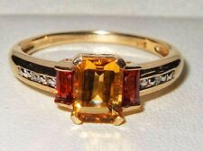 Beautiful Gemporia 9ct Yellow Gold Rhodolite Garnet, Citrine & Diamond Ring